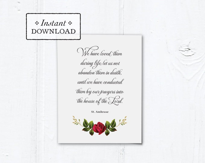 "Catholic Mass for the Deceased Explanation Card Instant Download White Rose - DIY Downloadable PDF A2 4.25""x5.5"""