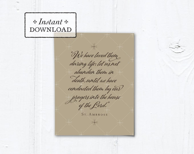 "Catholic Mass for the Deceased Explanation Card Instant Download Taupe - DIY Downloadable PDF A2 4.25""x5.5"""