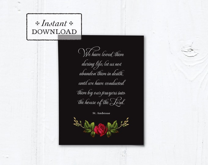"Catholic Mass for the Deceased Explanation Card Instant Download Black Rose - DIY Downloadable PDF A2 4.25""x5.5"""