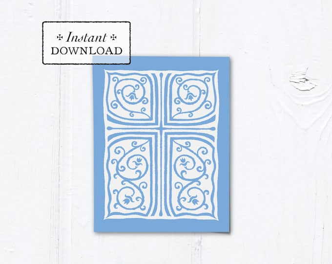 "Catholic Blue Cross Vines Multi-purpose Greeting Card Baptism Communion Confirmation Instant Download - DIY Downloadable PDF A2 4.25""x5.5"""