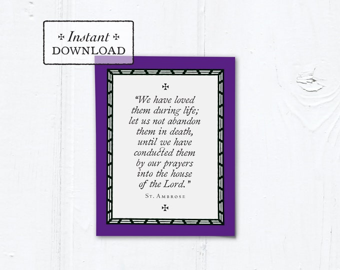 "Catholic Mass for the Deceased Explanation Card Instant Download - DIY Downloadable PDF A2 4.25""x5.5"""