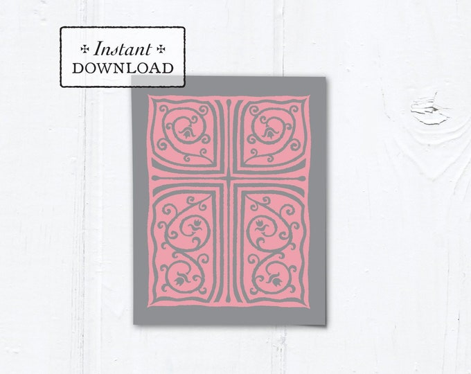 "Catholic Pink & Gray Cross Vines Multi-purpose Card Baptism Communion Confirmation Instant Download - DIY Downloadable PDF A2 4.25""x5.5"""