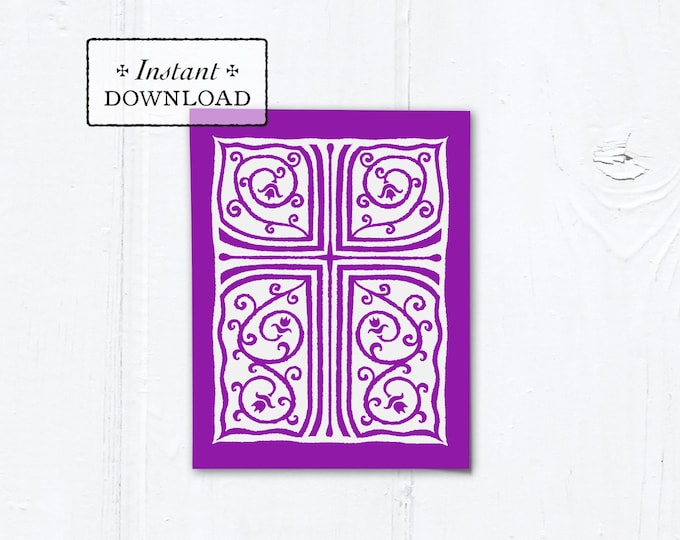 "Catholic Purple Cross Vines Multi-purpose Greeting Card Baptism Communion Confirmation Instant Download - DIY Downloadable PDF A2 4.25""x5.5"""