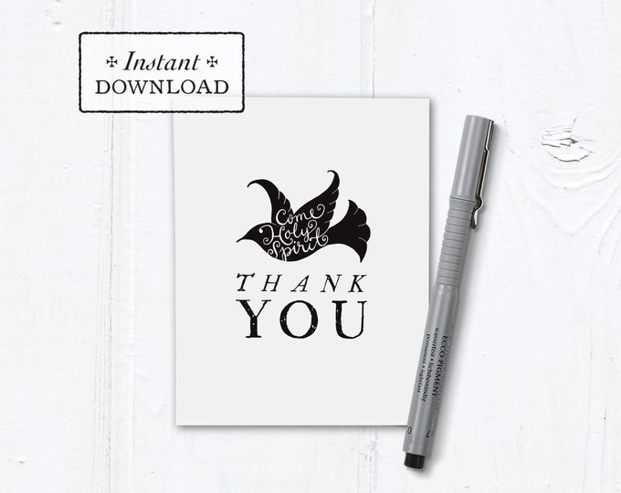 "Catholic Confirmation Thank You Note Black & White Dove Instant Download - DIY Downloadable PDF A2 4.25""x5.5"""