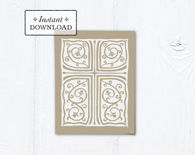 "Catholic Taupe Cross Vines Multi-purpose Greeting Card Baptism Communion Confirmation Instant Download - DIY Downloadable PDF A2 4.25""x5.5"""