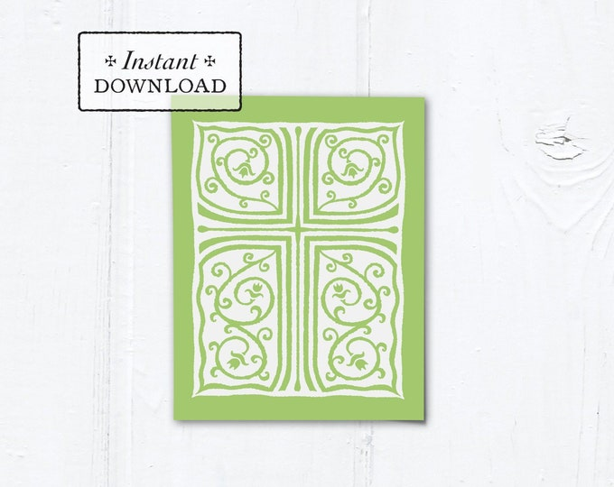 "Catholic Green Cross Vines Multi-purpose Greeting Card Baptism Communion Confirmation Instant Download - DIY Downloadable PDF A2 4.25""x5.5"""