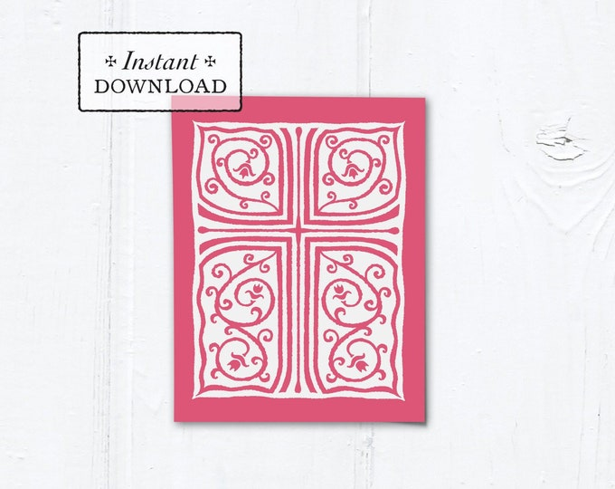 "Catholic Rose Cross Vines Multi-purpose Greeting Card Baptism Communion Confirmation Instant Download - DIY Downloadable PDF A2 4.25""x5.5"""