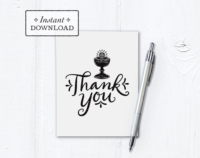 "Catholic First Communion Thank You Note Black & White Hand-lettered Instant Download - DIY Downloadable PDF A2 4.25""x5.5"""