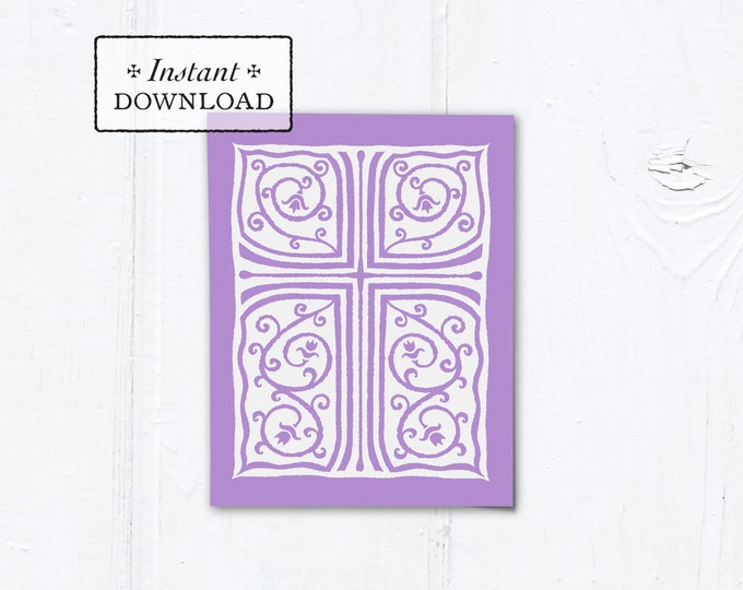 "Catholic Lilac Cross Vines Multi-purpose Greeting Card Baptism Communion Confirmation Instant Download - DIY Downloadable PDF A2 4.25""x5.5"""