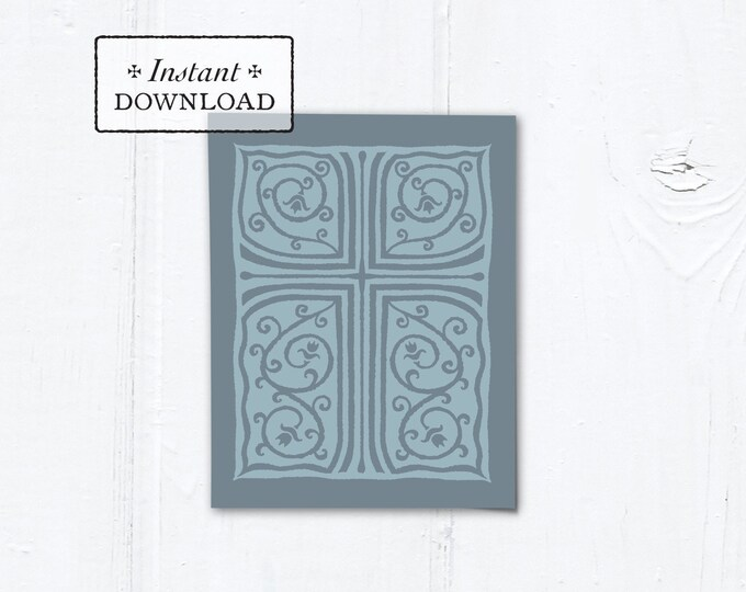 "Catholic Blue & Gray Cross Vines Multi-purpose Card Baptism Communion Confirmation Instant Download - DIY Downloadable PDF A2 4.25""x5.5"""
