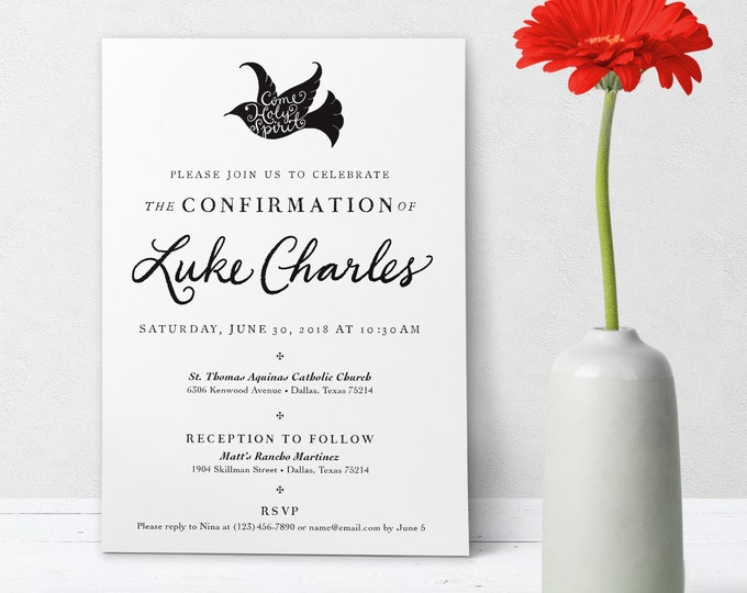 "Catholic Confirmation Invitation Customizable Hand-lettered Black & White - Boy or Girl - Downloadable Template PDF 5""x7"""