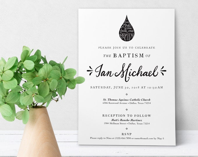 "Catholic Baptism Invitation Customizable Hand-lettered Black & White - Boy or Girl - Downloadable Template PDF 5""x7"""