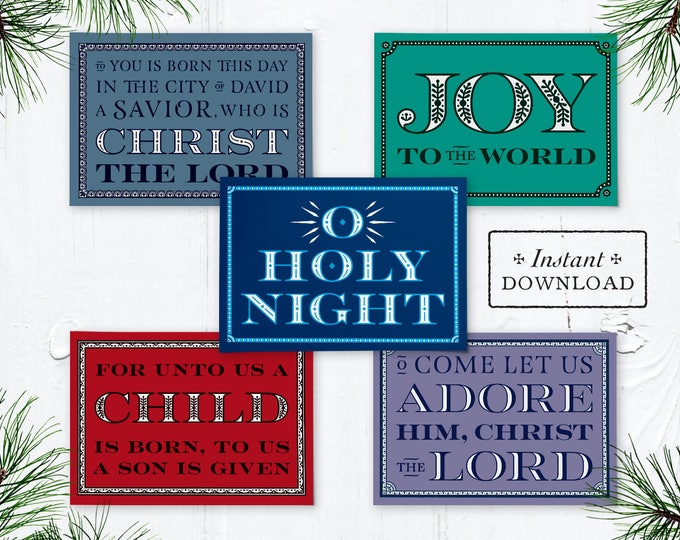 "Catholic Christmas Greeting Cards Set of 10 - 5 Designs Instant Download - DIY Downloadable PDF 5""x7"""