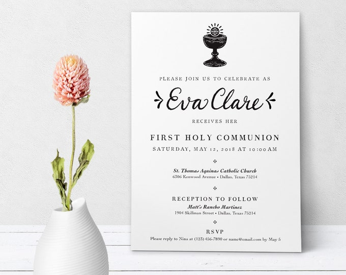"Catholic First Communion Invitation Customizable Hand-lettered Black & White - Boy or Girl - Downloadable Template PDF 5""x7"""