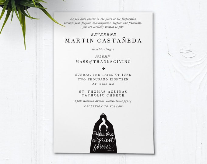 "Catholic Priest First Mass of Thanksgiving Invitation - Customizable Black & White - DIY Downloadable Template PDF 5""x7"""