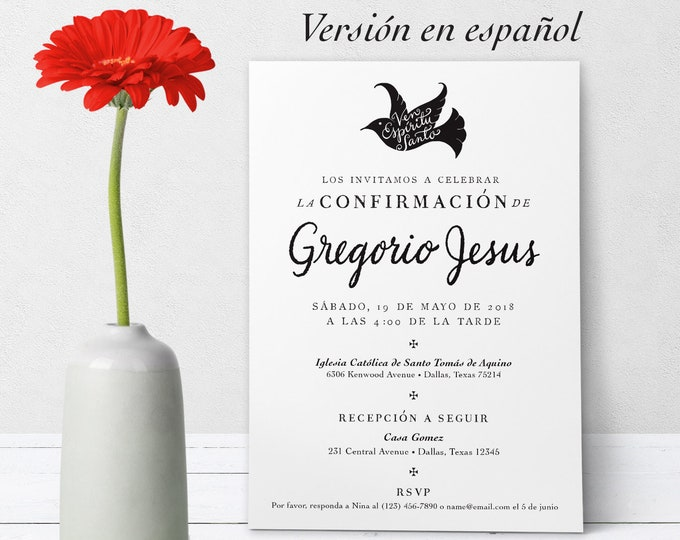 "Catholic Confirmation Invitation Spanish Customizable Hand-lettered Black & White en Español - Boy or Girl - Downloadable Template PDF 5""x7"""