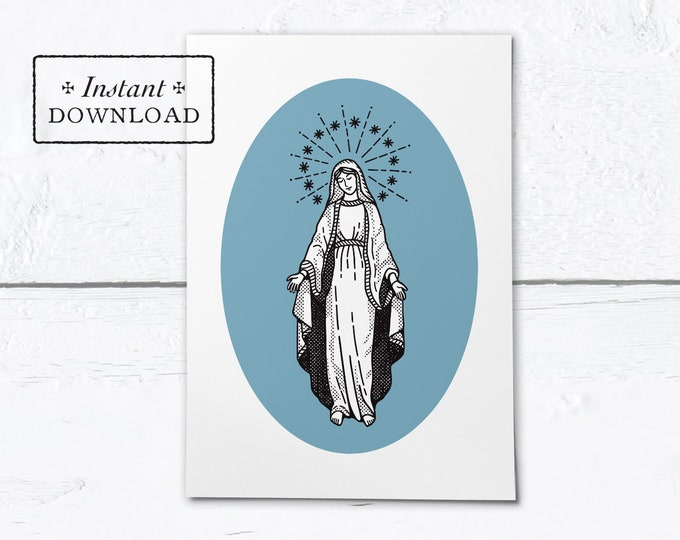 "Mary Greeting Card - Mother's Day - Instant Download - DIY Downloadable PDF 5""x7"""