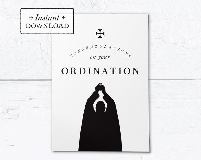 "Catholic Priest Ordination Card Black & White - Instant Download - DIY Downloadable PDF 5""x7"""