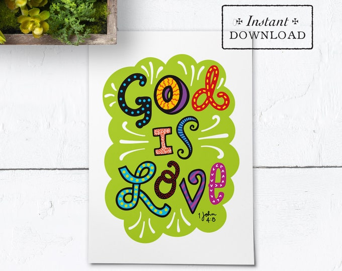 "God Is Love Color Greeting Card - Instant Download - DIY Downloadable PDF 5""x7"""