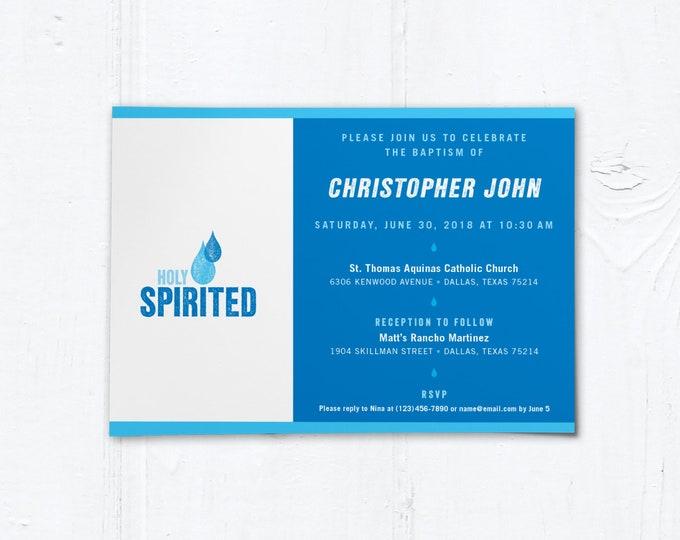 "Catholic Baptism Invitation Customizable Template - Boy or Girl - Downloadable PDF 5""x7"""