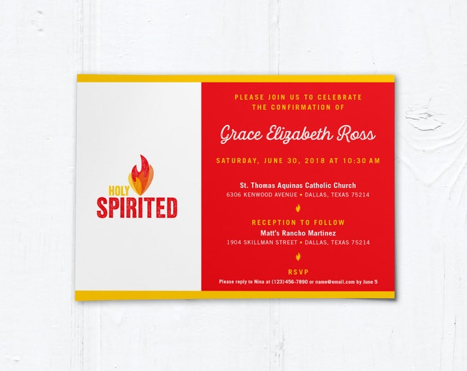 "Catholic Confirmation Invitation Customizable Template - Boy or Girl - Downloadable PDF 5""x7"""