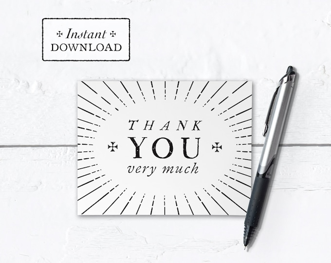 "Catholic Thank You Note Black & White Instant Download - DIY Downloadable PDF A2 4.25""x5.5"""
