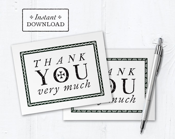 "Catholic Thank You Note Black & White Border Instant Download - DIY Downloadable PDF A2 4.25""x5.5"""