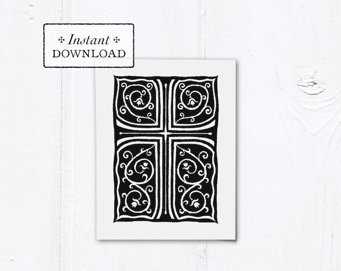 "Catholic Black Cross Vines Multi-purpose Greeting Card Baptism Communion Confirmation Instant Download - DIY Downloadable PDF A2 4.25""x5.5"""