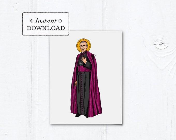 "Blessed Fulton Sheen Card - Art Print - Instant Download - DIY Downloadable PDF - A2 4.25""x5.5"""