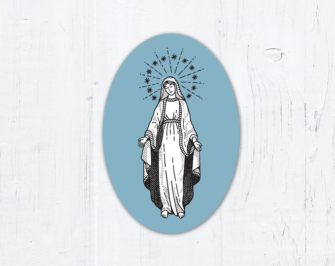 "Blessed Virgin Mary Oval Vinyl Sticker 2"" x 3"" Peel & Stick"