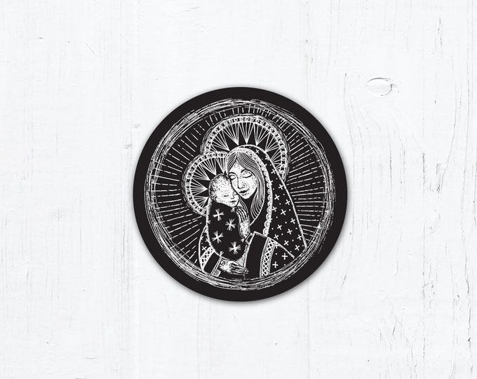 "Madonna and Child Digital Woodcut - Catholic Vinyl Sticker 2"" x 2"" Peel & Stick - Weatherproof"