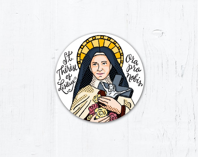 "St. Thérèse of Lisieux - Catholic Vinyl Sticker 2"" x 2"" Peel & Stick - Weatherproof"