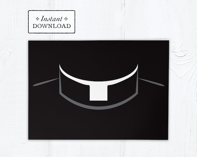 "Greeting Card for Catholic Priest - Roman Collar - Instant Download - DIY Downloadable PDF 5""x7"""