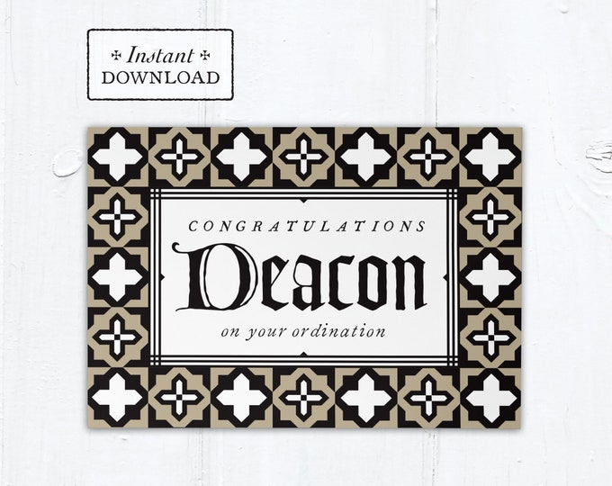 "Catholic Diaconate Ordination Card Deacon - Instant Download - DIY Downloadable PDF 5""x7"""