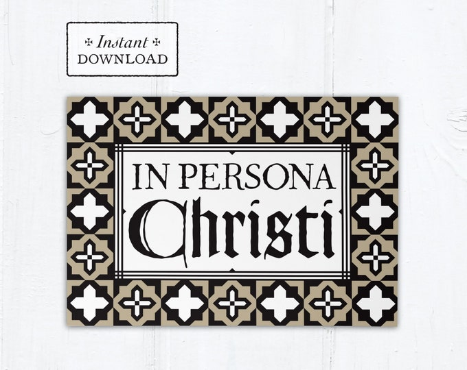 "Catholic Priest Ordination Card In Persona Christi - Instant Download - DIY Downloadable PDF 5""x7"""