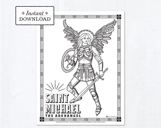 Catholic Coloring Page - Saint Michael - Catholic Saints - Printable Coloring Page - Digital - PDF