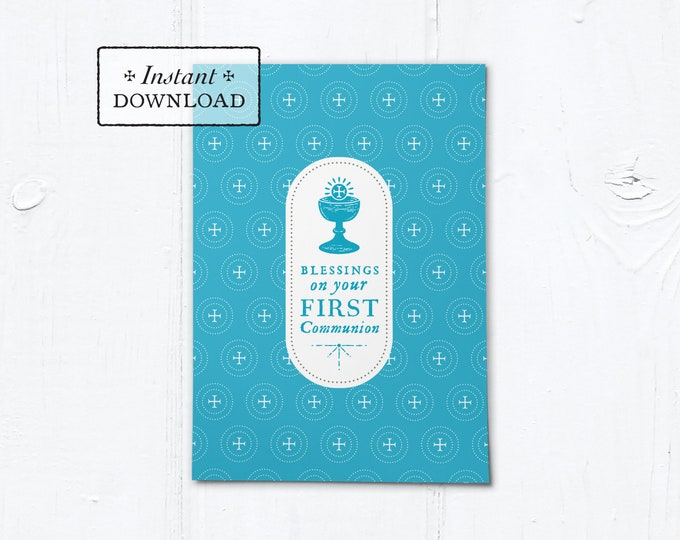 "Catholic First Communion Blessings Card Blue - Instant Download - DIY Downloadable PDF 5""x7"""