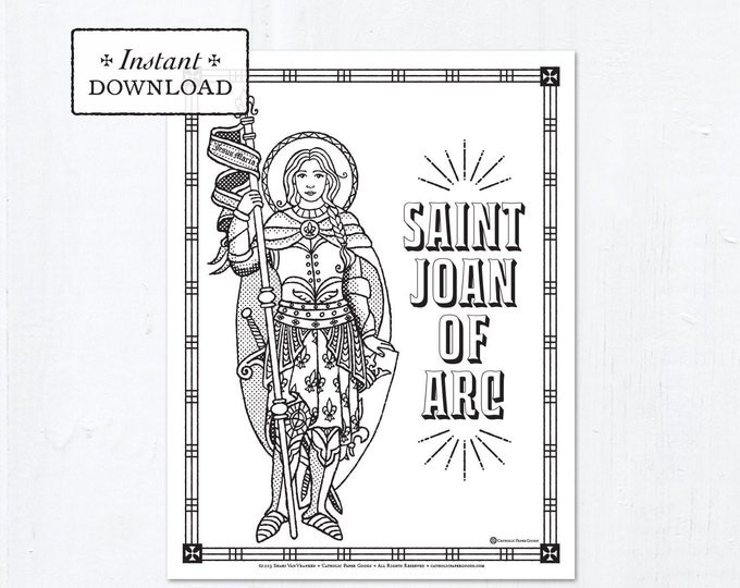 Catholic Coloring Page - Saint Joan of Arc - Catholic Saints - Printable Coloring Page - Digital - PDF