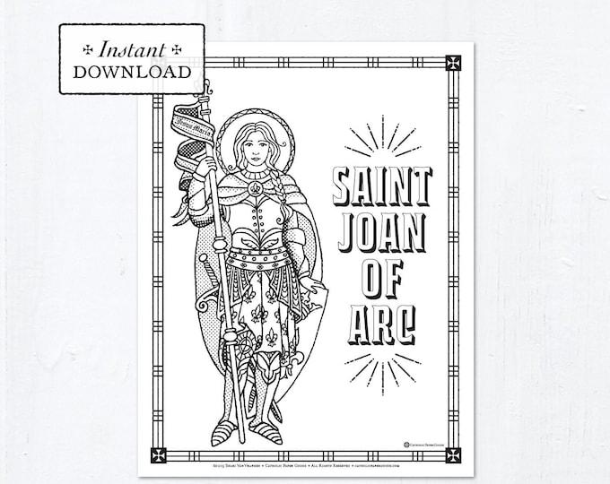 Catholic Coloring Page - Saint Joan of Arc - Catholic Saints - Printable Coloring Page - Digital - PDF