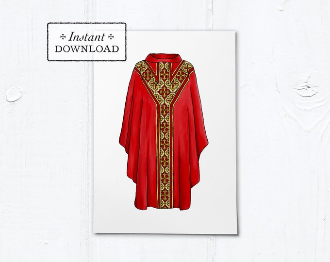 "Greeting Card for Catholic Priest - Illustrated Chasuble Red - Instant Download - DIY Downloadable PDF 5""x7"""