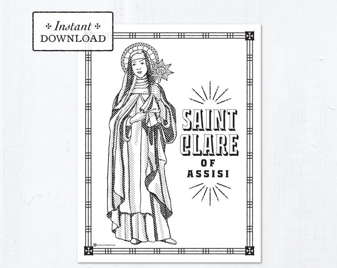 Catholic Coloring Page - Saint Clare of Assisi - Catholic Saints - Printable Coloring Page - Digital - PDF