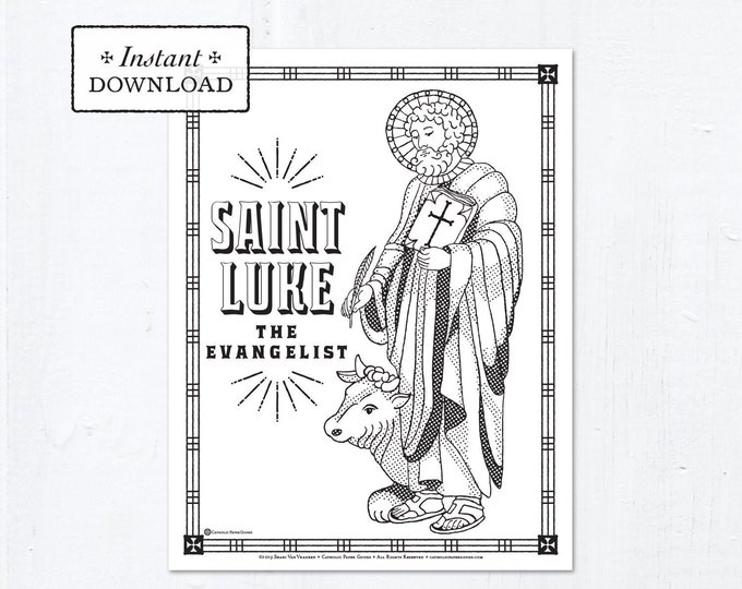 Catholic Coloring Page - Saint Luke - Catholic Saints - Printable Coloring Page - Digital - PDF