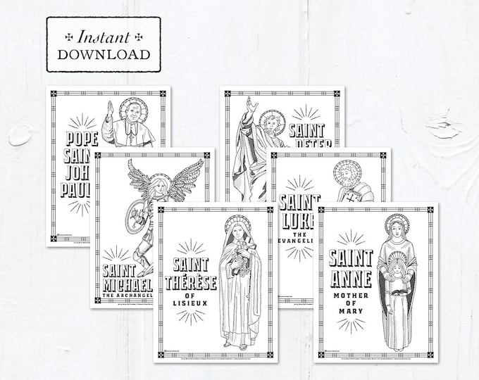 Catholic Coloring Page - Saints Set #1 - Bundle of 12 - Catholic Saints - Printable Coloring Pages - Digital - PDF