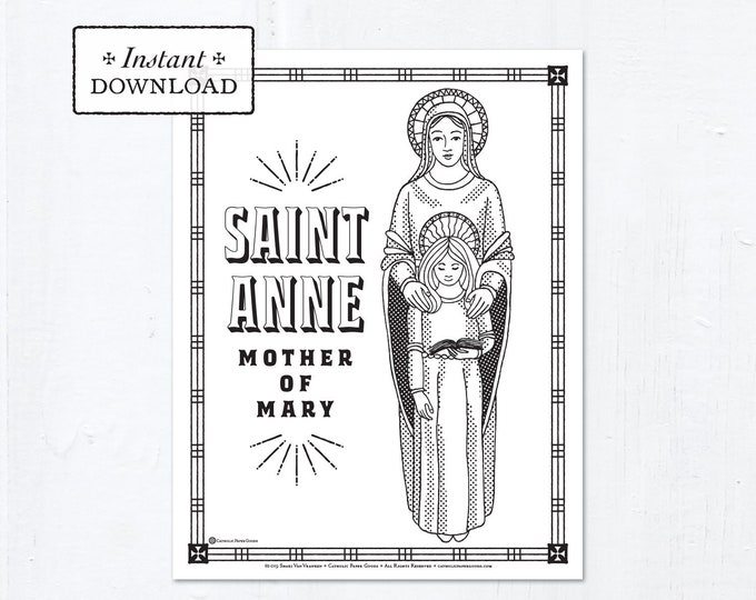 Catholic Coloring Page - Saint Anne - Catholic Saints - Printable Coloring Page - Digital - PDF