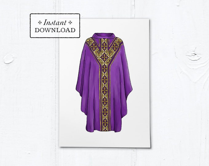 "Greeting Card for Catholic Priest - Illustrated Chasuble Purple - Instant Download - DIY Downloadable PDF 5""x7"""