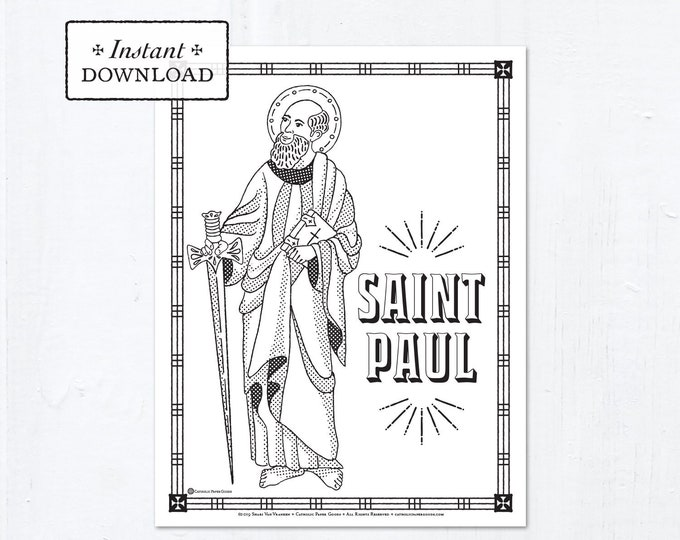 Catholic Coloring Page - Saint Paul - Catholic Saints - Printable Coloring Page - Digital - PDF