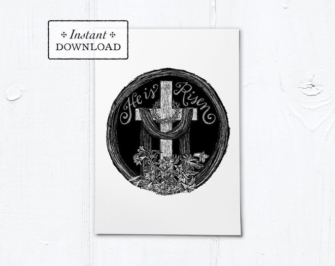 "Catholic Easter He is Risen Digital Woodcut Greeting Card Instant Download - Black - DIY Downloadable PDF 5""x7"""