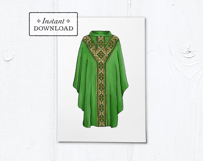 "Greeting Card for Catholic Priest - Illustrated Chasuble Green - Instant Download - DIY Downloadable PDF 5""x7"""