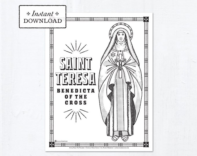 Catholic Coloring Page - Saint Teresa Benedicta of the Cross (Edith Stein) - Catholic Saints - Printable Coloring Page - Digital - PDF