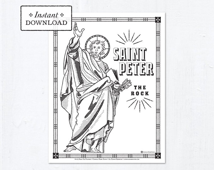 Catholic Coloring Page - Saint Peter - Catholic Saints - Printable Coloring Page - Digital - PDF
